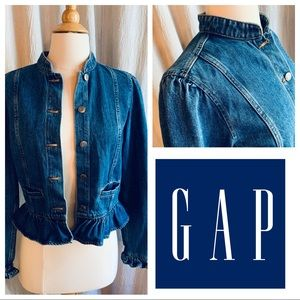 Adorable Gap Ruffle Denim Jacket, Size XS